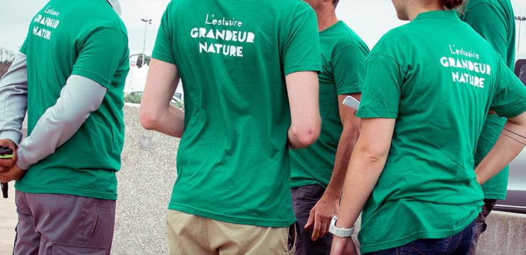 tee-shirt sérigraphie logo Estuaire grandeur nature vert